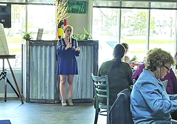 Grace Kremer addresses those gathered at her anti-human trafficking event April 17 at Real Fork Café in Rapid City. Kremer's event raised over $17,000 for a safe house for minor girls rescued from sex traffickin