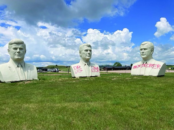 The bust of Ronald Reagan and George H.W. Bush were recently vandalized at the Southern Hills RVPark and Campground in Hermosa. The Custer County Sheriff's Office is following up on leads regarding the vandalism.